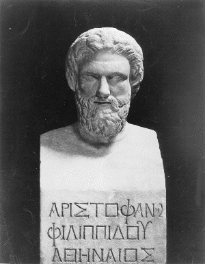 A bust of Aristophanes