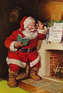 A common portrayal of Santa Claus.