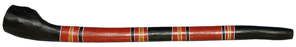 This is a new authentic didgeridoo from . It was made in the 1990s by , a famous didgeridoo maker and player from a remote Aboriginal community. Notice the huge bell.