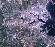 A simulated-color satellite image of the Boston area taken on 's .