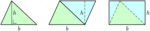 Triangle's area via geometry