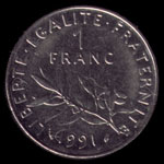 1 French franc 1991 coin reverse