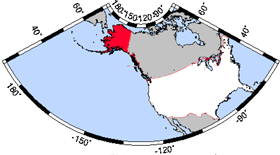 Map of the U.S. with Alaska highlighted