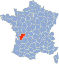 Location of de la Charente in France