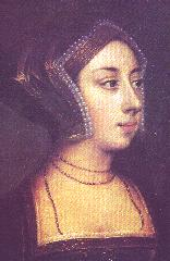 Anne Boleyn, a 19th-century painting based on a disputed sketch by .  Legend has it that this image is the basis for the queens in a deck of cards, but the actual inspiration was Anne's mother-in-law