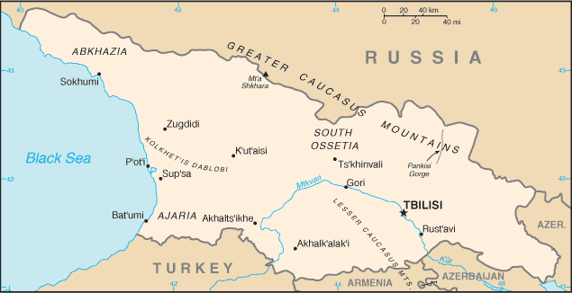Map of Georgia (the country in the Caucasus)