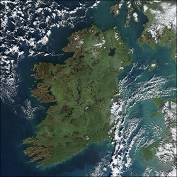 A true colour image of Ireland, captured by a  satellite on , . , the  and  are visible to the east.