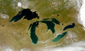 The Great Lakes from space; Lake Huron is the third from the left.