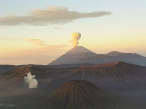 Smoking Bromo and Semeru volcanoes on  in .