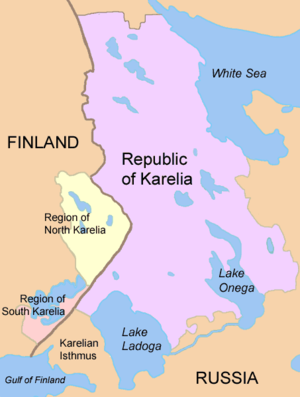Map showing the Republic of Karelia and the two Finnish regions.