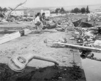 Aftermath of the 1960  in Hilo, Hawaii, where the tsunami left 61 people dead and 282 seriously injured.