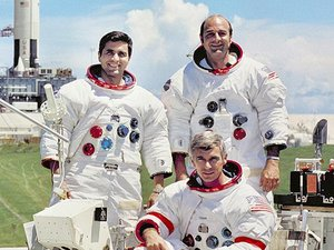 Apollo 17 crew portrait (L-R: Schmitt, Cernan (seated) and Evans)