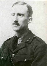 Tolkien in , wearing his British Army uniform in a photograph from the middle years of  (from Carpenter's Biography)