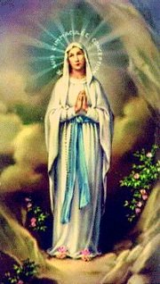 Our Lady of Lourdes - Mary appearing at Lourdes with Rosary Beads