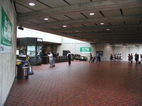 Greenbelt station, end of the Green line on the  is a typical example of the entrance concourse of a metro station.