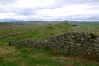 Pieces of Hadrian's Wall remain near Greenhead and along the route, though large sections have been dismantled over the years to use the stones for various nearby construction projects.