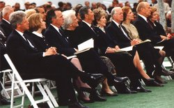 Presidents Bill Clinton, George Bush, Ronald Reagan, Jimmy Carter, Gerald Ford, and their wives at the funeral of President Richard Nixon on  .
