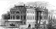 19th Century view of the White House as seen from the southwest, with the old West Wing visible.