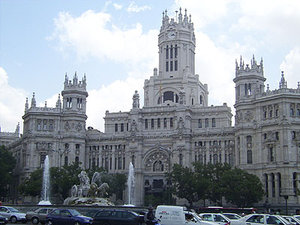 Plaza de Cibeles (Cibeles square) and the Palacio de Comunicaciones (Communications Palace)