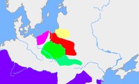 The  (green) in the first half of the . The map shows the extent of the  () in red,  a Baltic culture (?) in yellow, and  the Debczyn Culture, pink. The  is purple.