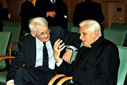Ratzinger debates with German philosopher Jürgen Habermas at the Catholic Academy of Bavaria, Germany in 2004.