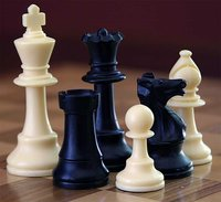 The game of , a game of pure strategy, requires the use of a chess set.