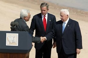 ,  President George W. Bush, and  Prime Minister  after reading statement to the press during the closing moments of the Red Sea Summit in , , ,