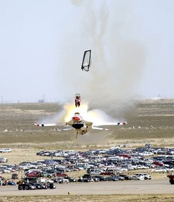Capt. Christopher Stricklin ejected from his USAF Thunderbirds aircraft at an air show at Mountain Home Air Force Base, Idaho, on , . Stricklin was not injured.