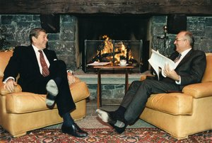 Gorbachev in one-on-one discussions with U.S. President Ronald Reagan