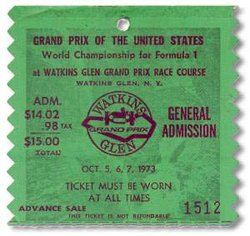 1973 Watkins Glen grand prix ticket
