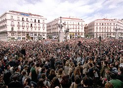Crowds in Madrid's Puerta del Sol protest against the 11 March bombings.