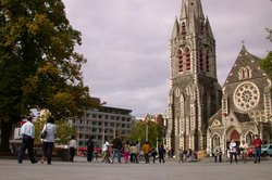 Cathedral Square in Christchurch, with Christ Church in the background.