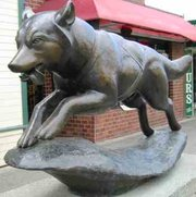Statue in Anchorage of Balto, the lead sled dog during the last part of the Iditarod serum run