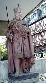 "Statue of  (also called Karl der Große, ""Charles the Great"") in , ."