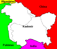 Map of Kashmir showing the Line of Control and disputed areas