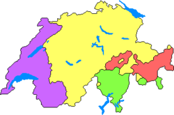The languages of Switzerland: German (yellow), French (purple), Italian (green), and Romansh (red).