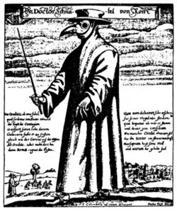 """Doktor Schnabel von Rom"" (English: ""Doctor Beak from Rome"") engraving by Paul Fürst (after J Columbina). The beak is a primitive , stuffed with substances thought to ward off the plague."