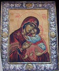 "The Virgin Mary with Christ Child. this particular portail is often called ""Sweet Kissing"""
